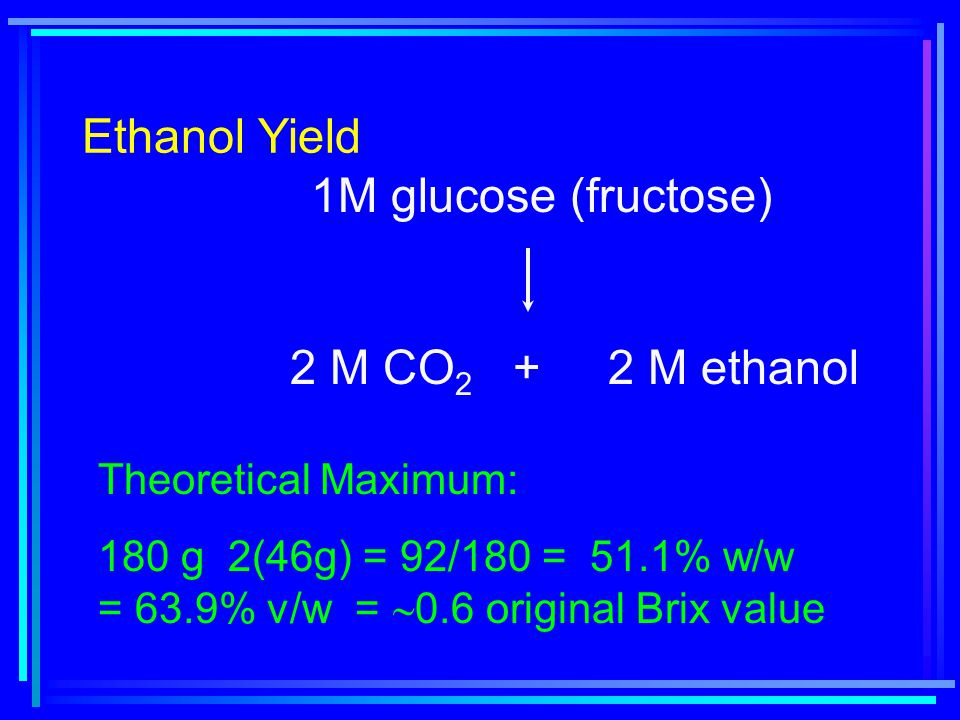 Ethanol Yield 1M glucose (fructose) 2 M CO 2 + 2 M ethanol Theoretical Maximum: 180 g 2(46g) = 92/180 = 51.1% w/w = 63.9% v/w =  0.6 original Brix value