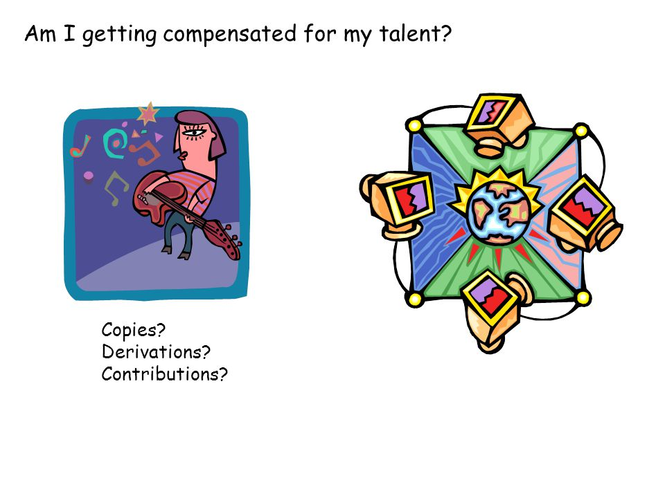 Am I getting compensated for my talent? Copies? Derivations? Contributions?