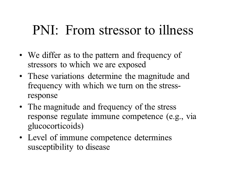Psychoneuroimmunology (PNI) Subfield of health psychology that emphasizes the interaction of psychological, neuroendocrine, and immunological processes in stress and illness