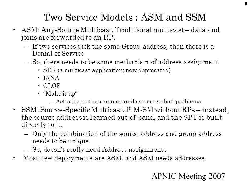 APNIC Meeting 2007 6 Multicast Addressing IPv4 Multicast Group Addresses – 224.0.0.0–239.255.255.255 AKA 224/4 – The Class D Address Space High order bits of 1st Octet = 1110 –Source sends to group address –Receivers receive traffic sent to group address Some Multicast Address blocks : –232/8 Source Specific Multicast (SSM) Block –233/8 GLOP - RFC 3180 (originally 2770) –239/8 Administrative Scoping - RFC2365