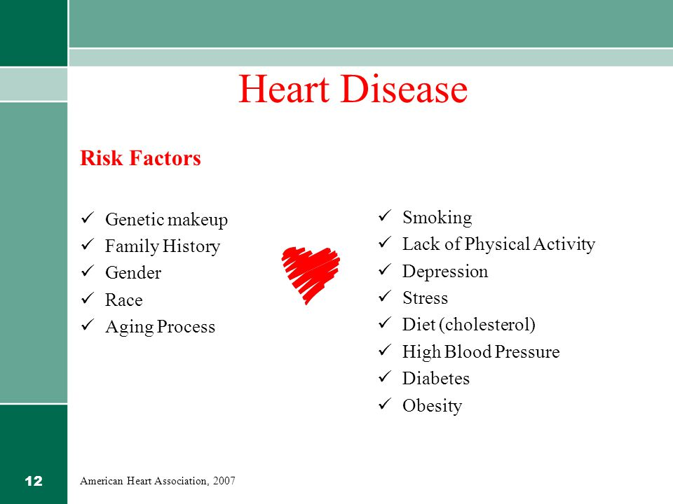12 Heart Disease Risk Factors Genetic makeup Family History Gender Race Aging Process Smoking Lack of Physical Activity Depression Stress Diet (cholesterol) High Blood Pressure Diabetes Obesity American Heart Association, 2007
