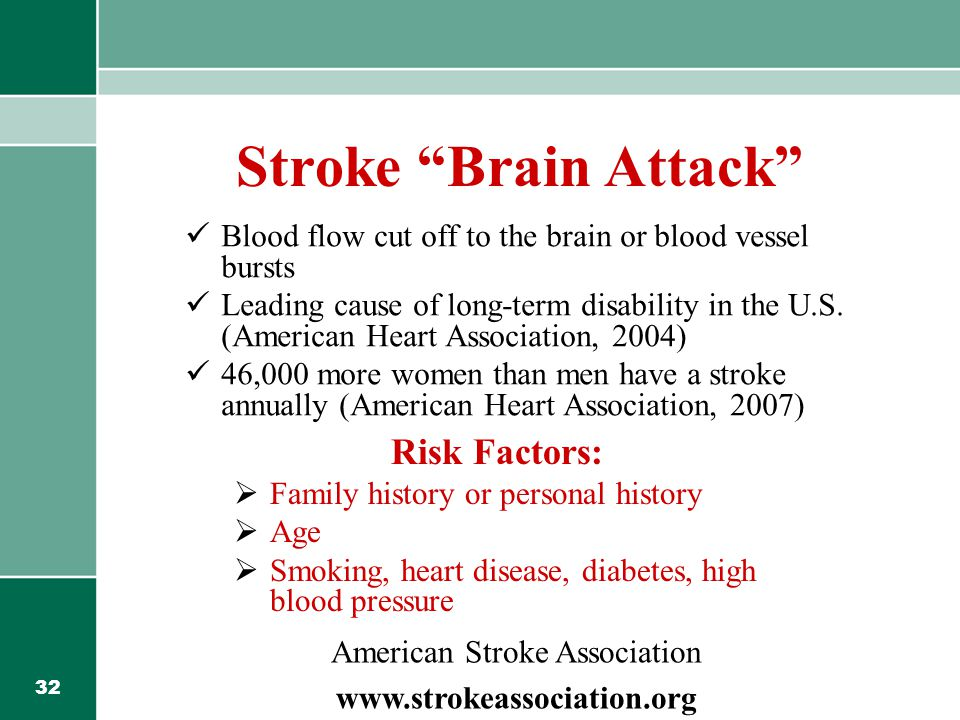 32 Stroke Brain Attack Blood flow cut off to the brain or blood vessel bursts Leading cause of long-term disability in the U.S.