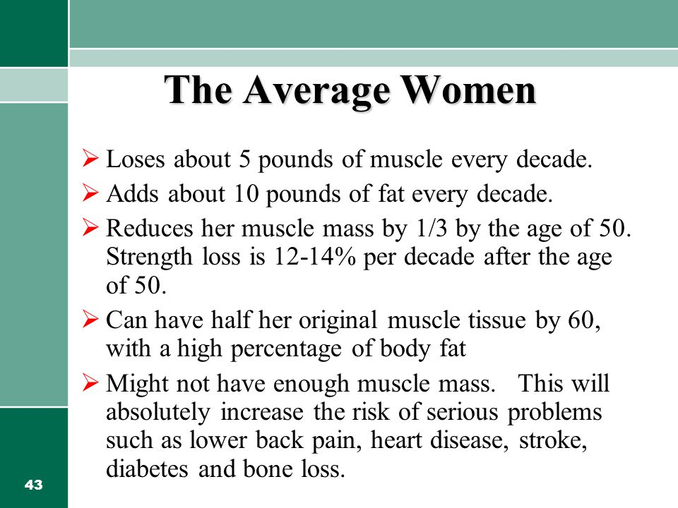 43 The Average Women  Loses about 5 pounds of muscle every decade.