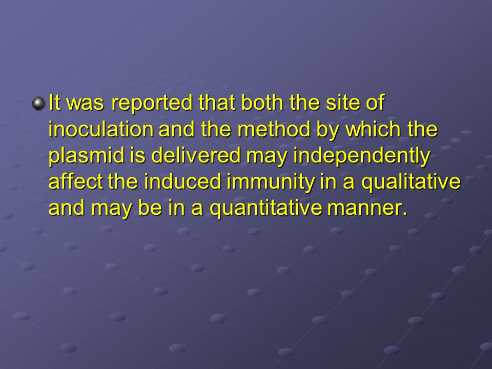 It was reported that both the site of inoculation and the method by which the plasmid is delivered may independently affect the induced immunity in a qualitative and may be in a quantitative manner.