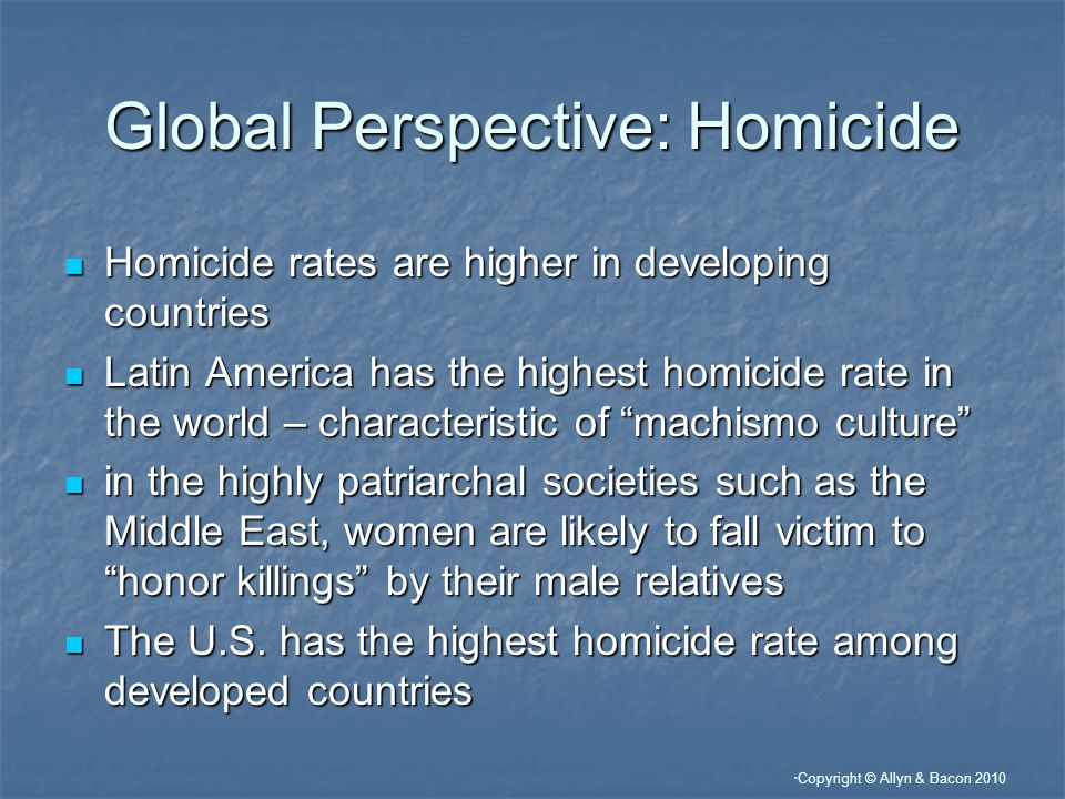 Copyright © Allyn & Bacon 2010 Global Perspective: Homicide Homicide rates are higher in developing countries Homicide rates are higher in developing countries Latin America has the highest homicide rate in the world – characteristic of machismo culture Latin America has the highest homicide rate in the world – characteristic of machismo culture in the highly patriarchal societies such as the Middle East, women are likely to fall victim to honor killings by their male relatives in the highly patriarchal societies such as the Middle East, women are likely to fall victim to honor killings by their male relatives The U.S.