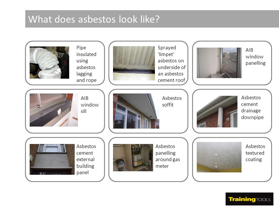 What does asbestos look like? Pipe insulated using asbestos lagging and rope Sprayed 'limpet' asbestos on underside of an asbestos cement roof AIB win