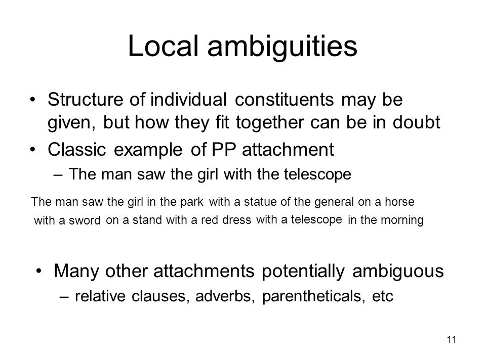 11 Local ambiguities Structure of individual constituents may be given, but how they fit together can be in doubt Classic example of PP attachment –The man saw the girl with the telescope The man saw the girl in the parkwith a statue of the generalon a horse with a sword on a stand in the morning with a red dress with a telescope Many other attachments potentially ambiguous –relative clauses, adverbs, parentheticals, etc
