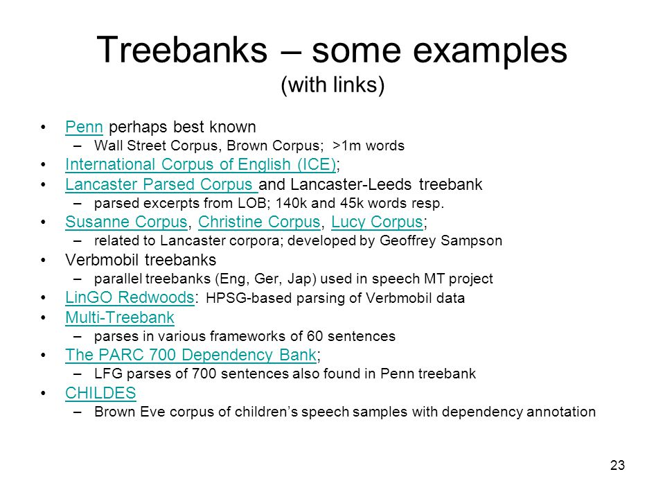 23 Treebanks – some examples (with links) Penn perhaps best knownPenn –Wall Street Corpus, Brown Corpus; >1m words International Corpus of English (ICE);International Corpus of English (ICE) Lancaster Parsed Corpus and Lancaster-Leeds treebankLancaster Parsed Corpus –parsed excerpts from LOB; 140k and 45k words resp.