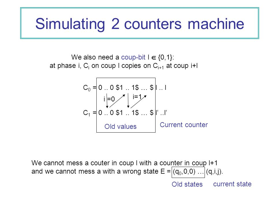 Simulating 2 counters machine C 0 = 0.. 0 $1.. 1$ … $ l..