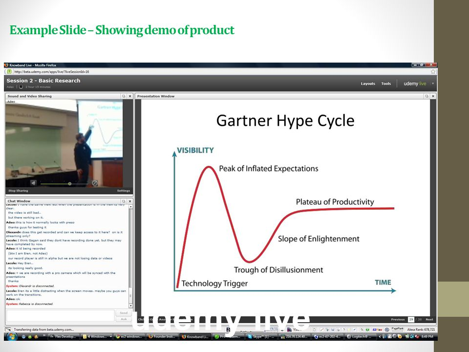 udemy live Example Slide – Showing demo of product