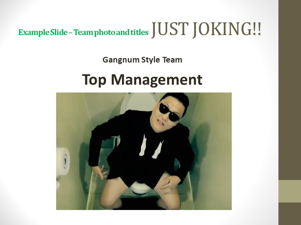 Example Slide – Team photo and titles JUST JOKING!! Gangnum Style Team Top Management