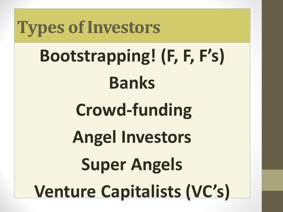Bootstrapping You should already know this! Friends Family Fools