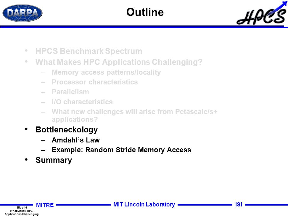 Slide-16 What Makes HPC Applications Challenging MITRE ISIMIT Lincoln Laboratory Outline HPCS Benchmark Spectrum What Makes HPC Applications Challenging.