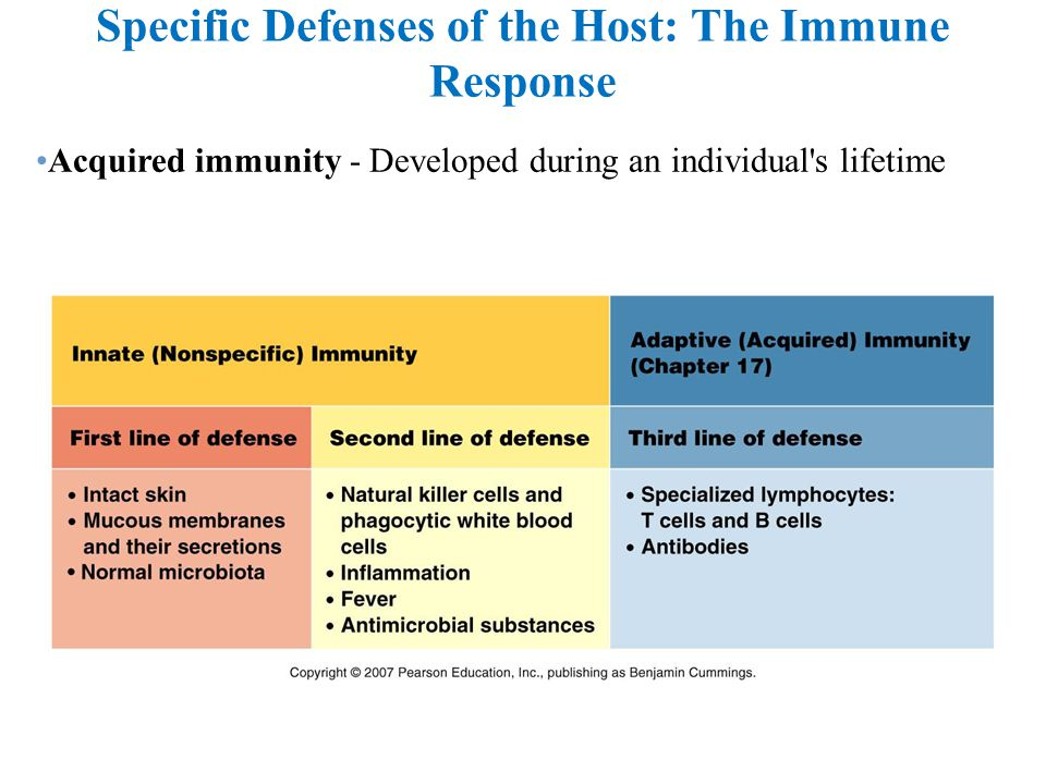 Specific Defenses of the Host: The Immune Response Acquired immunity - Developed during an individual's lifetime