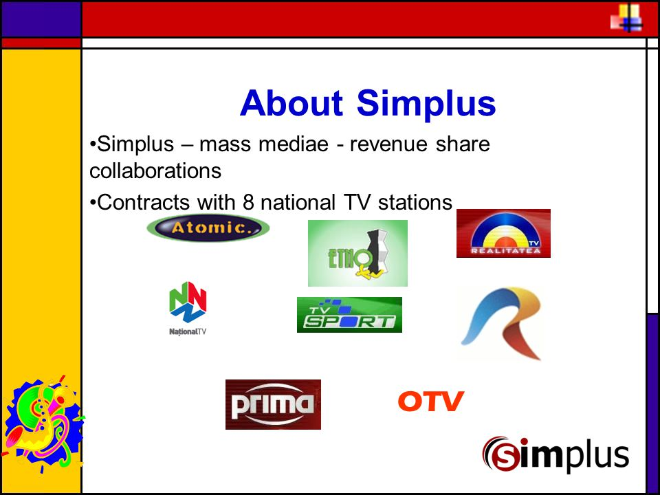 About Simplus Simplus – mass mediae - revenue share collaborations Contracts with 8 national TV stations OTV