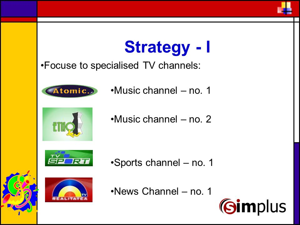 Strategy - I Focuse to specialised TV channels: Music channel – no.