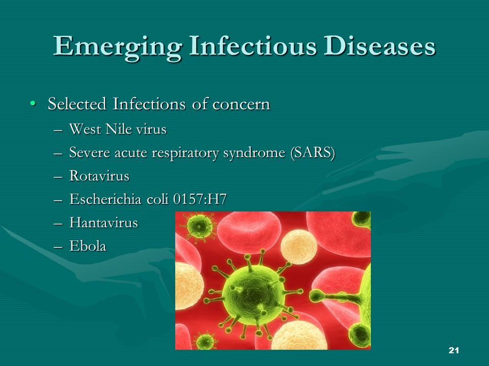 21 Emerging Infectious Diseases Selected Infections of concernSelected Infections of concern –West Nile virus –Severe acute respiratory syndrome (SARS) –Rotavirus –Escherichia coli 0157:H7 –Hantavirus –Ebola