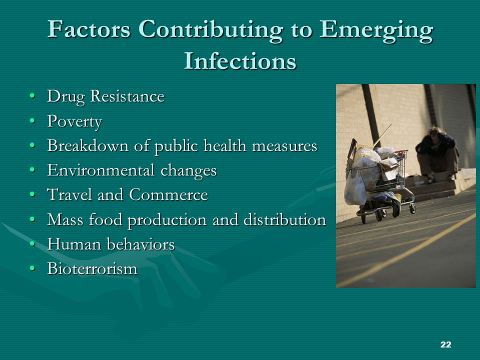 22 Factors Contributing to Emerging Infections Drug ResistanceDrug Resistance PovertyPoverty Breakdown of public health measuresBreakdown of public health measures Environmental changesEnvironmental changes Travel and CommerceTravel and Commerce Mass food production and distributionMass food production and distribution Human behaviorsHuman behaviors BioterrorismBioterrorism