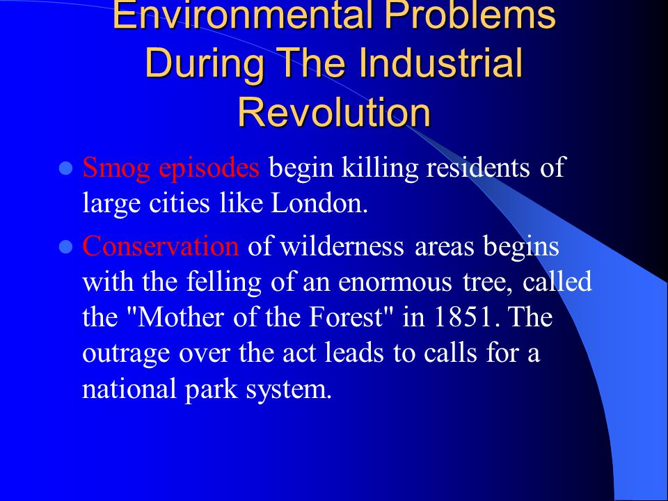 Environmental Problems During The Industrial Revolution Smog episodes begin killing residents of large cities like London. Conservation of wilderness