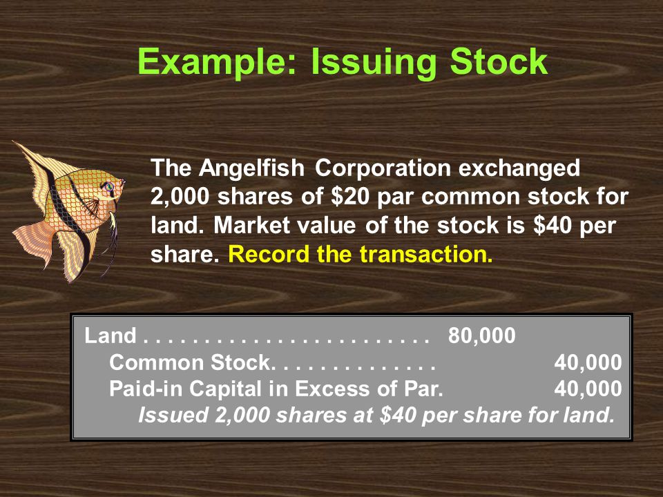 Example: Issuing Stock Land........................80,000 Common Stock..............