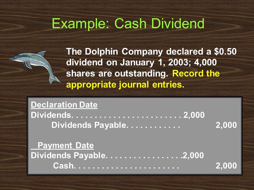 Example: Cash Dividend Declaration Date Dividends........................