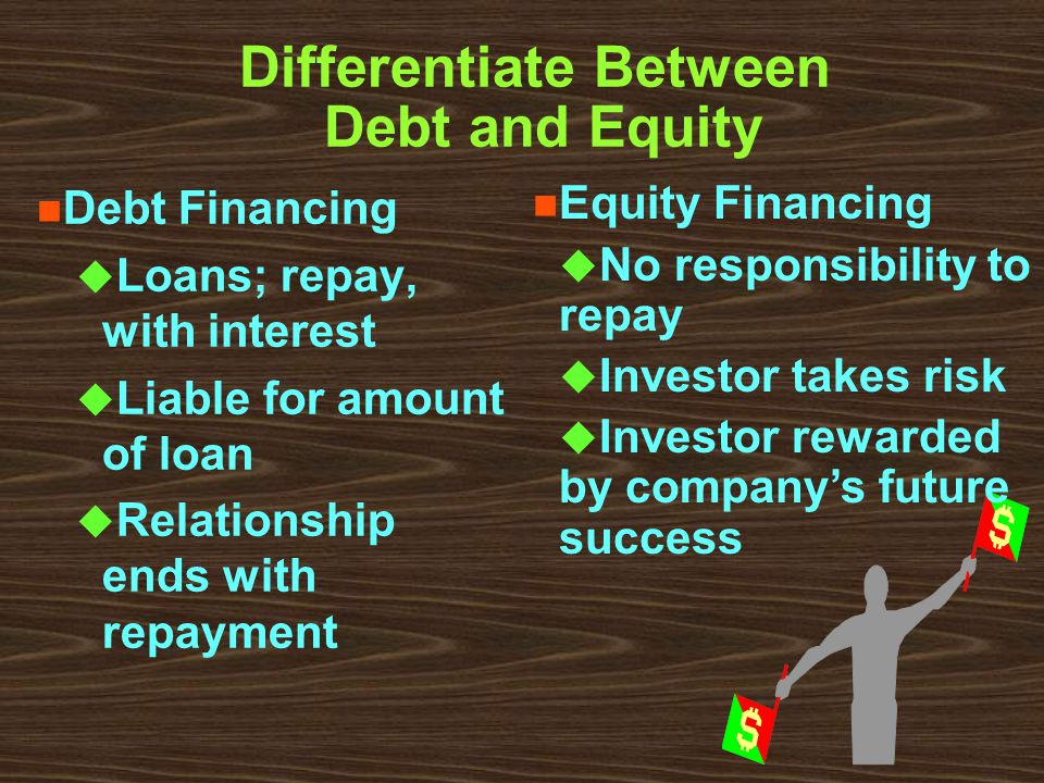 Differentiate Between Debt and Equity n Debt Financing u Loans; repay, with interest u Liable for amount of loan u Relationship ends with repayment n Equity Financing u No responsibility to repay u Investor takes risk u Investor rewarded by company's future success