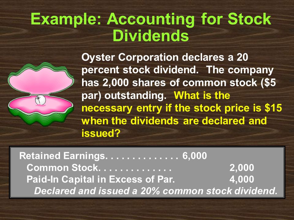 Example: Accounting for Stock Dividends Retained Earnings..............6,000 Common Stock..............