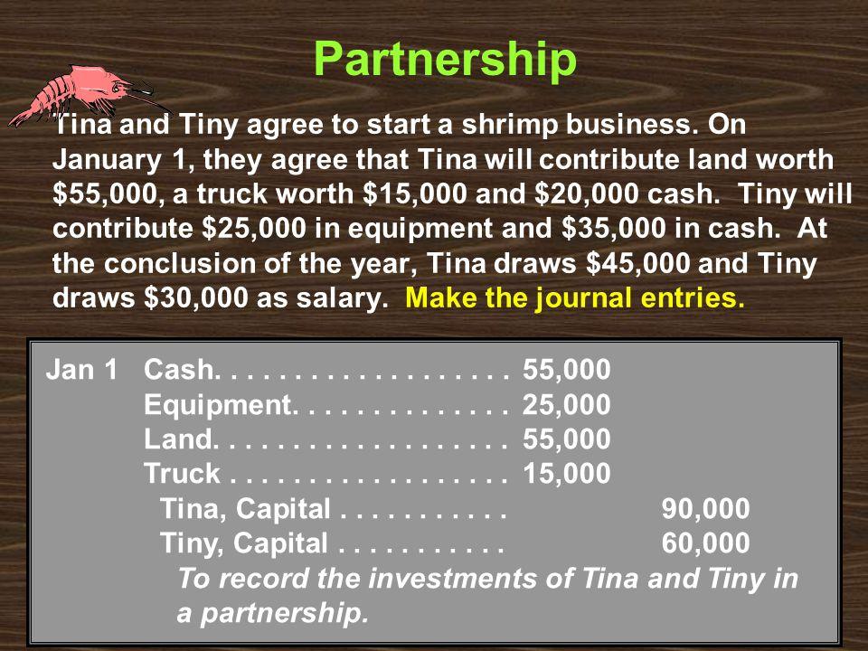 Partnership Tina and Tiny agree to start a shrimp business.