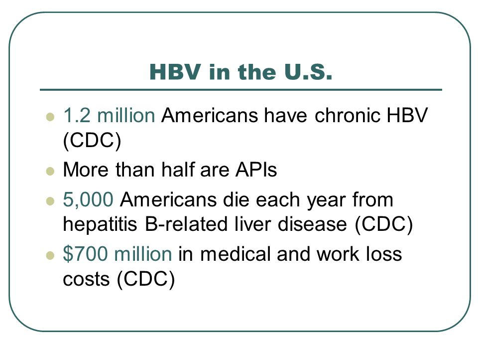 HBV in the U.S. 1.2 million Americans have chronic HBV (CDC) More than half are APIs 5,000 Americans die each year from hepatitis B-related liver dise