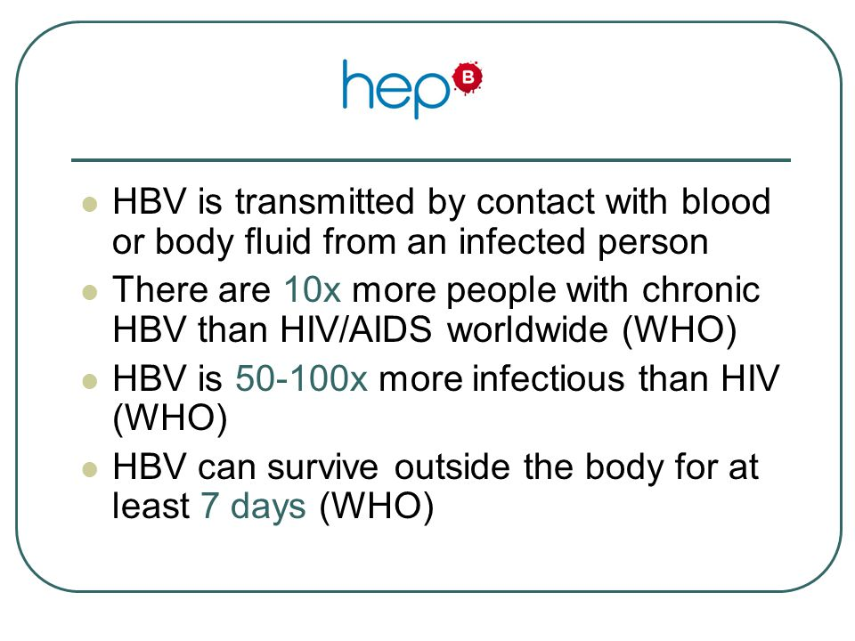 References Centers for Disease Control and Prevention, Hepatitis Branch http://www.cdc.gov/hepatitis/HBV/index.htm World Health Organization http://www.who.int/immunization/topics/hepatitis_b/en/index.