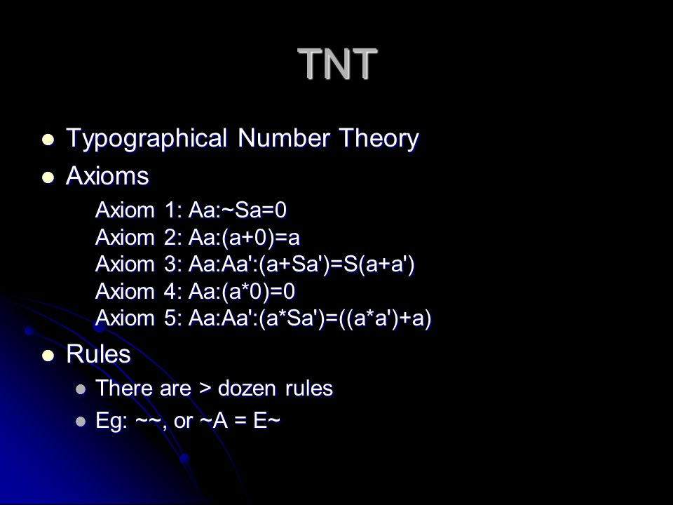 TNT Typographical Number Theory Typographical Number Theory Axioms Axioms Axiom 1: Aa:~Sa=0 Axiom 2: Aa:(a+0)=a Axiom 3: Aa:Aa':(a+Sa')=S(a+a') Axiom