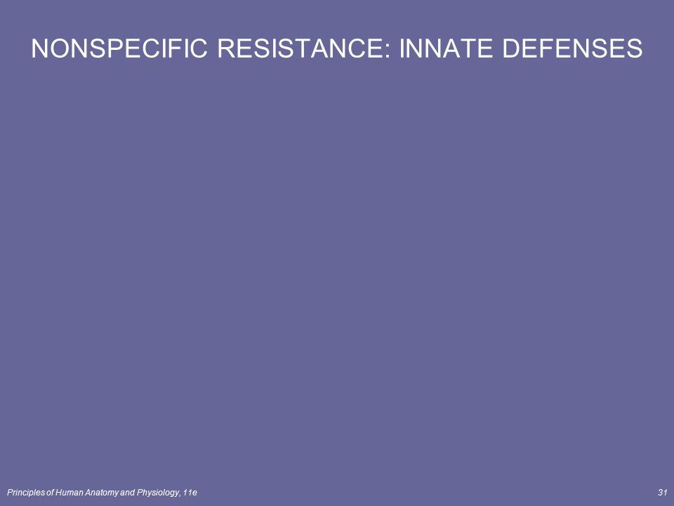 Principles of Human Anatomy and Physiology, 11e31 NONSPECIFIC RESISTANCE: INNATE DEFENSES