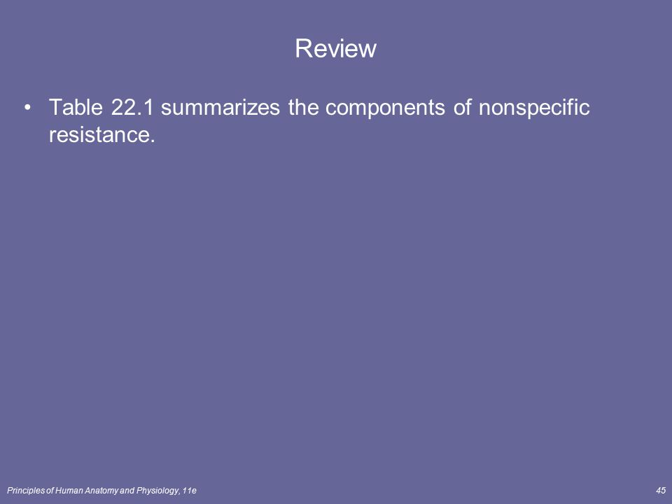 Principles of Human Anatomy and Physiology, 11e45 Review Table 22.1 summarizes the components of nonspecific resistance.
