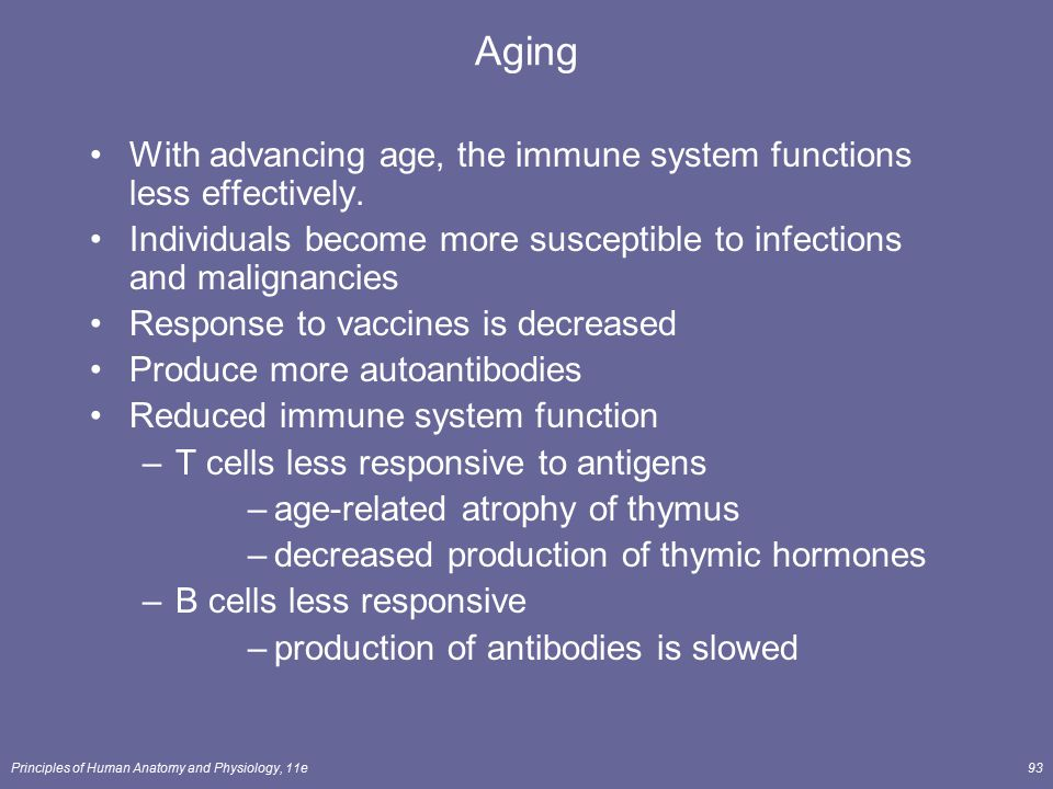 Principles of Human Anatomy and Physiology, 11e93 Aging With advancing age, the immune system functions less effectively. Individuals become more susc