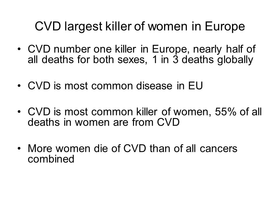 CVD largest killer of women in Europe CVD number one killer in Europe, nearly half of all deaths for both sexes, 1 in 3 deaths globally CVD is most co