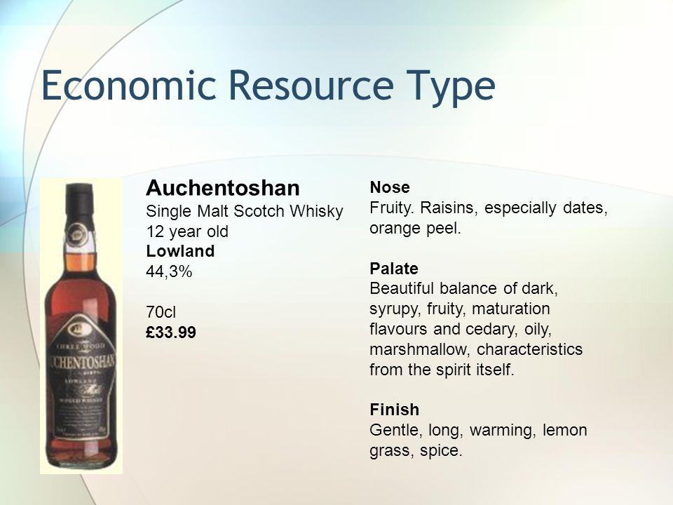 Economic Resource Type Nose Fruity.Raisins, especially dates, orange peel.