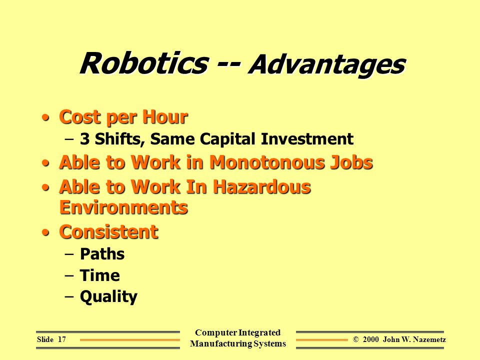 © 2000 John W. NazemetzSlide 17 Computer Integrated Manufacturing Systems Robotics -- Advantages Cost per HourCost per Hour –3 Shifts, Same Capital In