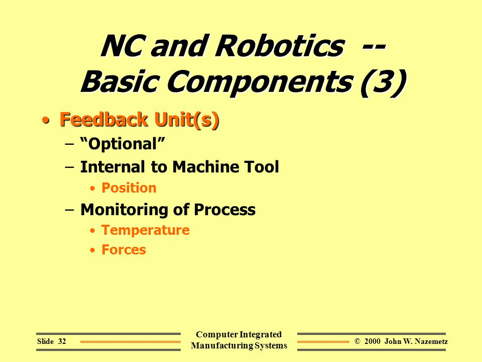 "© 2000 John W. NazemetzSlide 32 Computer Integrated Manufacturing Systems NC and Robotics -- Basic Components (3) Feedback Unit(s)Feedback Unit(s) –""O"