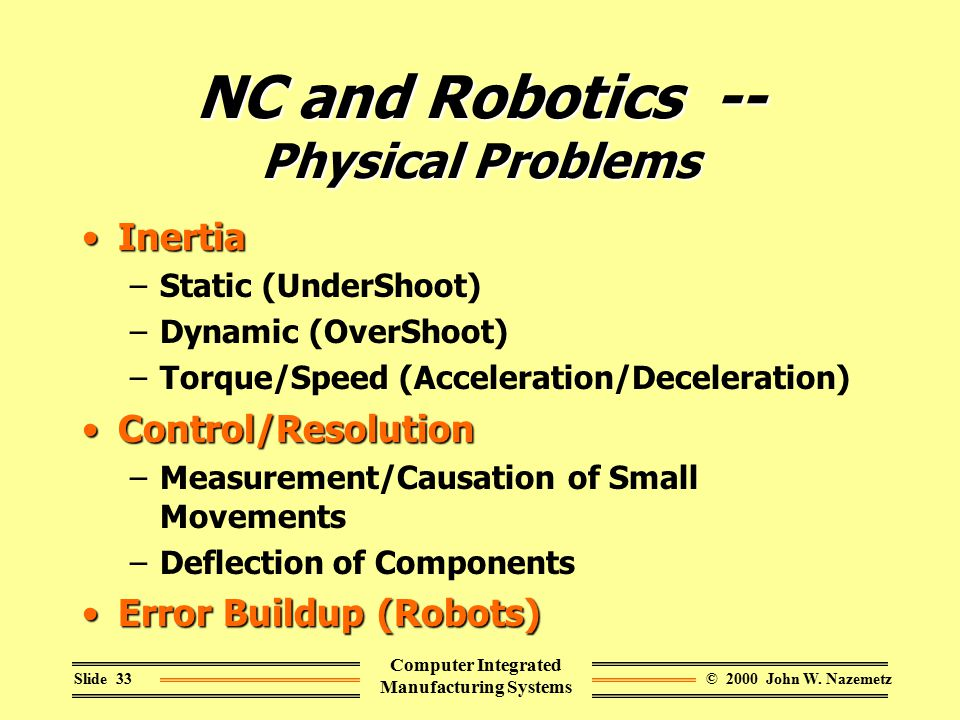 © 2000 John W. NazemetzSlide 33 Computer Integrated Manufacturing Systems NC and Robotics -- Physical Problems InertiaInertia –Static (UnderShoot) –Dy
