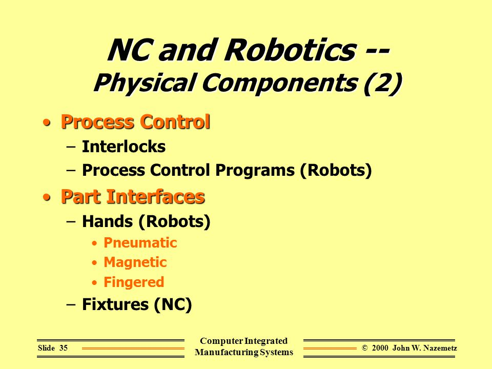© 2000 John W. NazemetzSlide 35 Computer Integrated Manufacturing Systems NC and Robotics -- Physical Components (2) Process ControlProcess Control –I