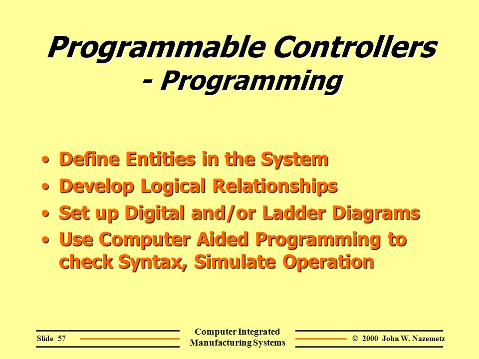 © 2000 John W. NazemetzSlide 57 Computer Integrated Manufacturing Systems Programmable Controllers - Programming Define Entities in the SystemDefine E
