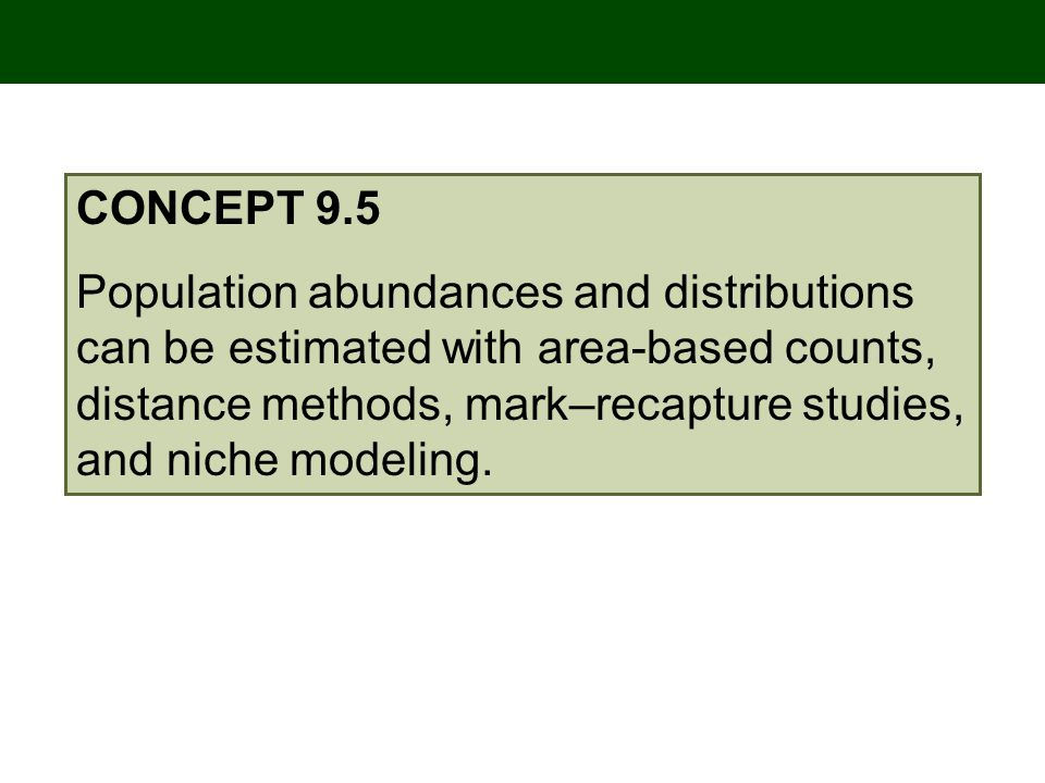 CONCEPT 9.5 Population abundances and distributions can be estimated with area-based counts, distance methods, mark–recapture studies, and niche modeling.