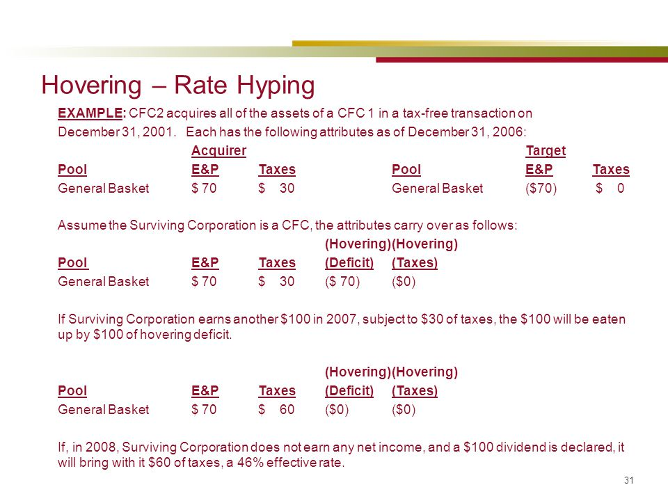 31 Hovering – Rate Hyping EXAMPLE: CFC2 acquires all of the assets of a CFC 1 in a tax-free transaction on December 31, 2001. Each has the following a