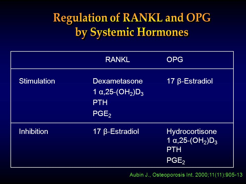 RANKL OPG StimulationDexametasone17 β-Estradiol 1 α,25-(OH 2 )D 3 PTH PGE 2 Inhibition17 β-EstradiolHydrocortisone 1 α,25-(OH 2 )D 3 PTH PGE 2 Aubin J., Osteoporosis Int.