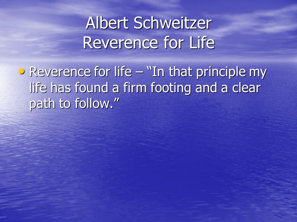 Albert Schweitzer Reverence for Life Reverence for life – In that principle my life has found a firm footing and a clear path to follow. Reverence for life – In that principle my life has found a firm footing and a clear path to follow.