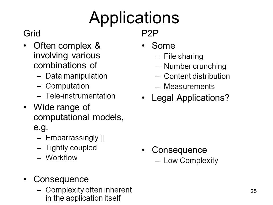 25 Applications Grid Often complex & involving various combinations of –Data manipulation –Computation –Tele-instrumentation Wide range of computational models, e.g.