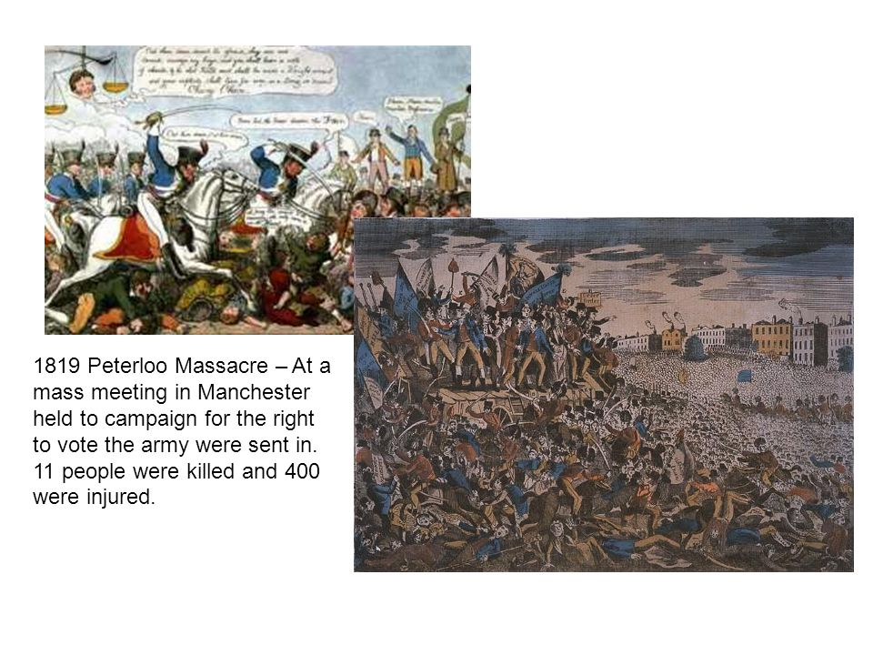 1819 Peterloo Massacre – At a mass meeting in Manchester held to campaign for the right to vote the army were sent in. 11 people were killed and 400 w