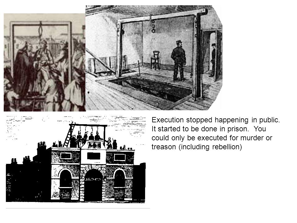 Execution stopped happening in public. It started to be done in prison. You could only be executed for murder or treason (including rebellion)