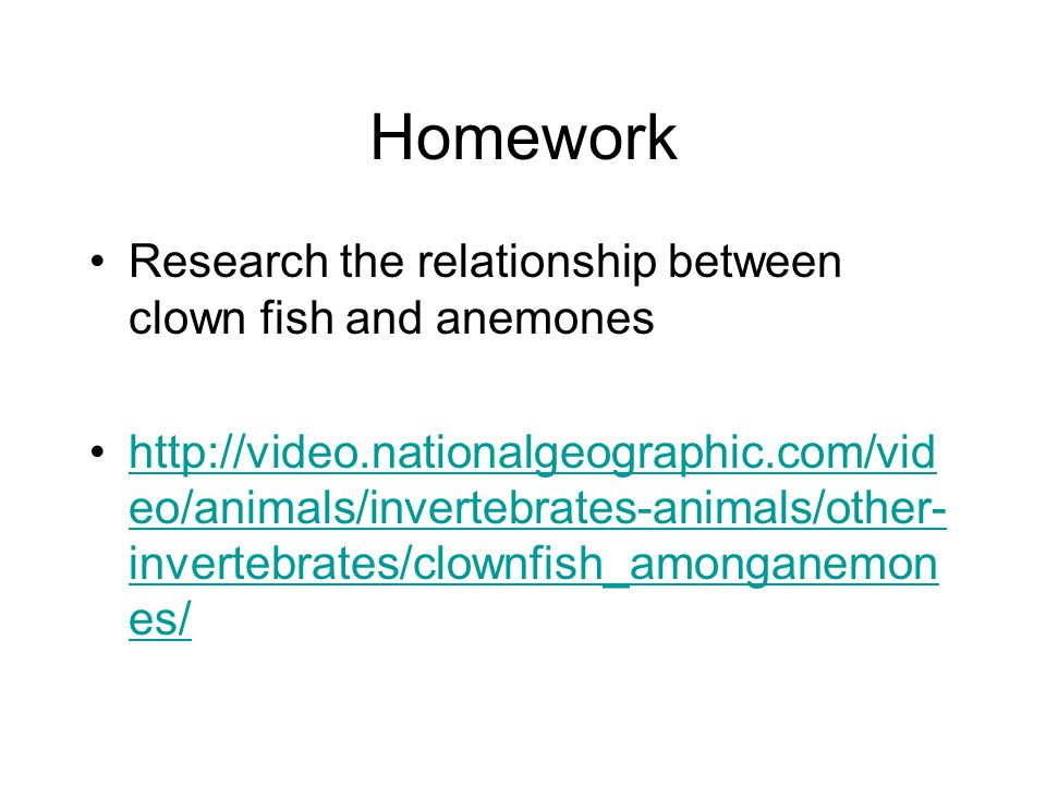 Homework Research the relationship between clown fish and anemones http://video.nationalgeographic.com/vid eo/animals/invertebrates-animals/other- invertebrates/clownfish_amonganemon es/http://video.nationalgeographic.com/vid eo/animals/invertebrates-animals/other- invertebrates/clownfish_amonganemon es/