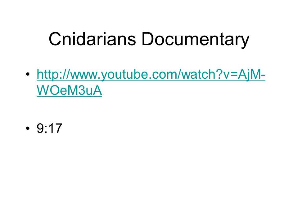 Cnidarians Documentary http://www.youtube.com/watch v=AjM- WOeM3uAhttp://www.youtube.com/watch v=AjM- WOeM3uA 9:17